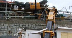 Forklift Truck Topples Over and Smashes Cart Road Beach Huts